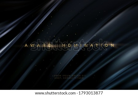 Awarding the nomination ceremony luxury black wavy background with golden glitter sparkles. Vector background EPS10 Royalty-Free Stock Photo #1793013877