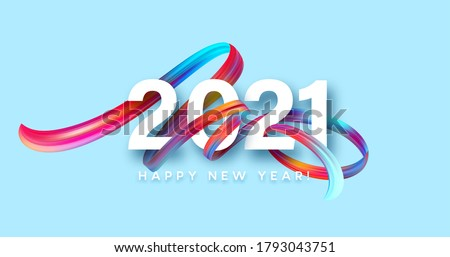Colorful Brushstroke paint lettering calligraphy of 2021 Happy New Year background. Color flow background. Vector illustration EPS10 #1793043751
