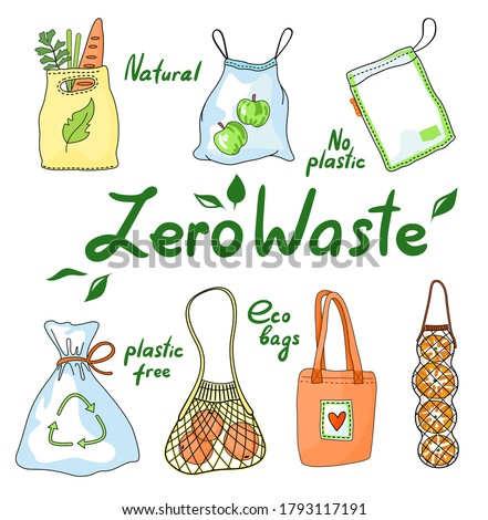 Set of zero waste eco bags, string mesh cotton bag, heart logo, recycling sign, grocery bags, fast decomposing plastic, zip package, plastic free, green life, ecology life style, eco friendly