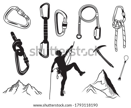 Set of climbing equipment. Collection of silhouette items for mountaineering rest ice ax, cable, carbines. Safe ascent up the mountain. Vector illustration of travel tools for outdoor activities.