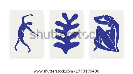 Contemporary Matisse inspired posters. Abstract organic shapes, hand drawn collage set, creative art. Vector illustration. #1793190400