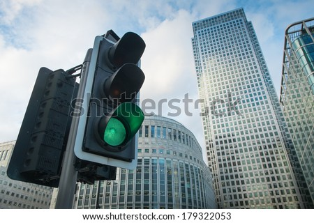 Green Traffic Light in the city, London