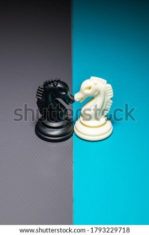 chess charecters in different colour background, photography art