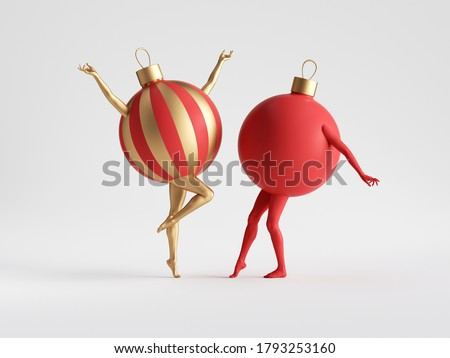 3d render. Red gold Christmas ball ornaments with mannequin legs dance. Abstract colorful seasonal clip art isolated on white background. Funny cartoon characters.