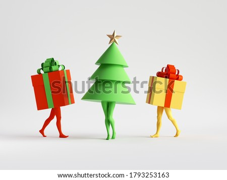3d render. Abstract colorful Christmas clip art isolated on white background. Fir tree and gift boxes. Funny cartoon characters toys, seasonal ornaments. Group of surreal objects with mannequin legs