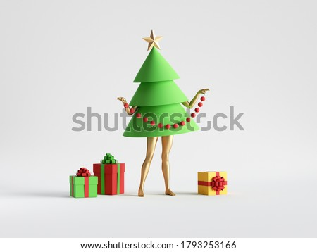 3d render. Green Christmas tree cartoon character with mannequin legs stands near wrapped gift boxes. Minimal seasonal clip art isolated on white background. Unique toy