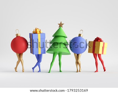3d render. Abstract colorful Christmas clip art isolated on white background. Fir tree, gift box, ball. Funny cartoon characters toys, seasonal ornaments. Group of surreal objects with mannequin legs