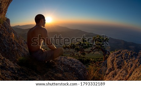 hiker yogi meditate on beauty mountain landscape background, holiday recreation traveling concept, horizontal photo #1793332189