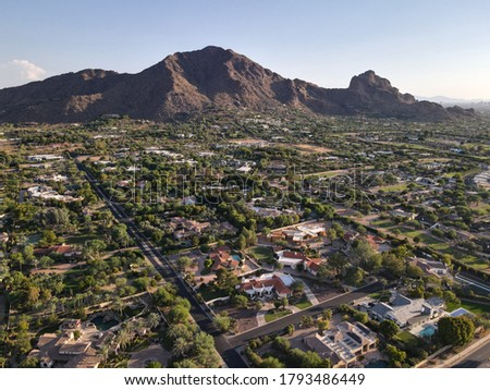 High angle view of Camelback Mountain, located in Phoenix and near Scottsdale,Arizona,USA