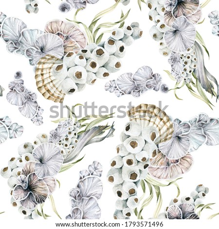 Watercolor underwater seamless pattern- hand painted oceanic shells, sea coral reef, seaweed. Undersea illustration perfect for fabric textile, prints, home interior, design, cards