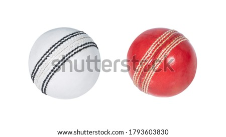 cricket balls isolated on white background red and white balls Royalty-Free Stock Photo #1793603830