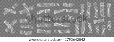 Transparent adhesive plastic tape pieces and cross for fixing isolated on transparent background. Crumpled glue plastic sticky tape for photo and paper fixture. 3d realistic wrinkled strips vector #1793642842