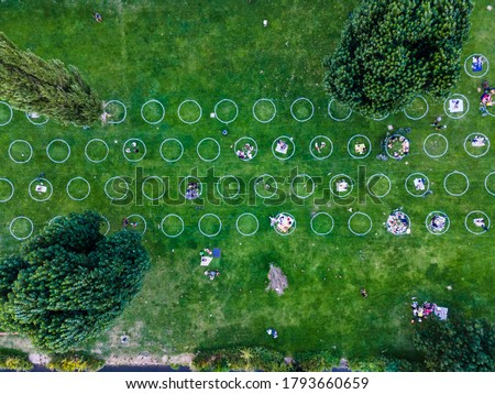 Socialising in a public park, separation with circles, Heidelberg Neckarwiese, social distancing, covid 19