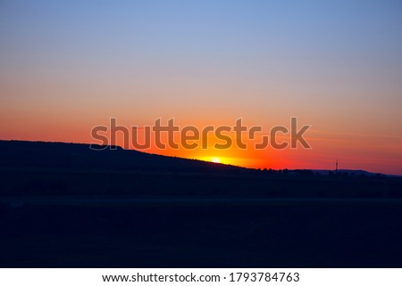 Sunset over the hill .  Landscape with sunset  #1793784763