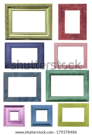 colorful picture frames. Isolated over white background with clipping path