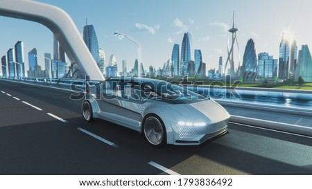 Shot of a Futuristic Self-Driving Van Moving on a Public Highway in a Modern City with Glass Skyscrapers. Beautiful Female and Senior Man are Having a Conversation in a Driverless Autonomous Vehicle. Royalty-Free Stock Photo #1793836492