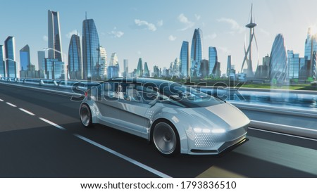 Shot of a Futuristic Self-Driving Van Moving on a Public Highway in a Modern City with Glass Skyscrapers. Beautiful Female and Senior Man are Having a Conversation in a Driverless Autonomous Vehicle. Royalty-Free Stock Photo #1793836510