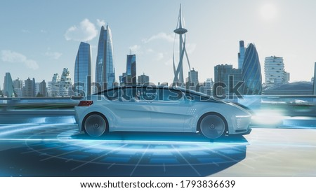 Shot of a Futuristic Self-Driving Van Moving on a Public Highway in a Modern City with Glass Skyscrapers. Beautiful Female and Senior Man are Having a Conversation in a Driverless Autonomous Vehicle. Royalty-Free Stock Photo #1793836639