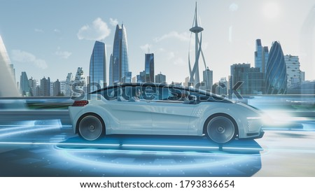 Shot of a Futuristic Self-Driving Van Moving on a Public Highway in a Modern City with Glass Skyscrapers. Beautiful Female and Senior Man are Having a Conversation in a Driverless Autonomous Vehicle. Royalty-Free Stock Photo #1793836654