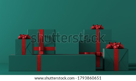 Minimal product background for Christmas, New year and sale event concept. Green gift box with red ribbon bow on green background. 3d render illustration. Clipping path of each element included.