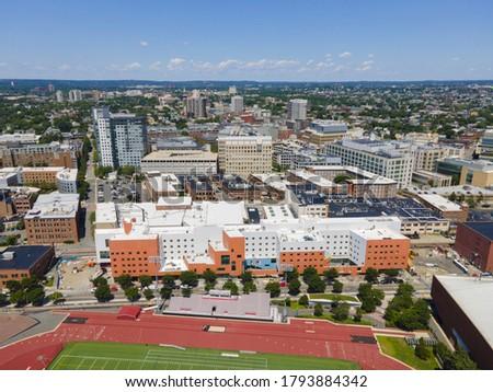 Cambridge city center aerial view from MIT campus, Cambridge, Massachusetts MA, USA.