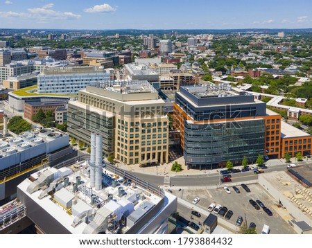 Cambridge modern city center aerial view on Main Street at Portland Street, Cambridge, Massachusetts MA, USA.