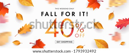 Autumn Sale background, banner, poster or flyer design. Vector illustration with bright beautiful leaves frame and text fall for it 40 % off. Template for advertising, web, social and fashion ads #1793932492