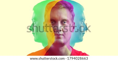 Silhouette of a man in color RGB.  Concept on the topic of psychology, science, symbol of the complexity of a person's personality. A creative idea in the colors of RGB.