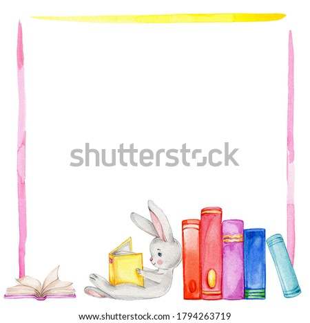Pink and yellow frame with cute little bunny and stack of books; watercolor hand draw illustration; can be used for card or invitation; with white isolated background