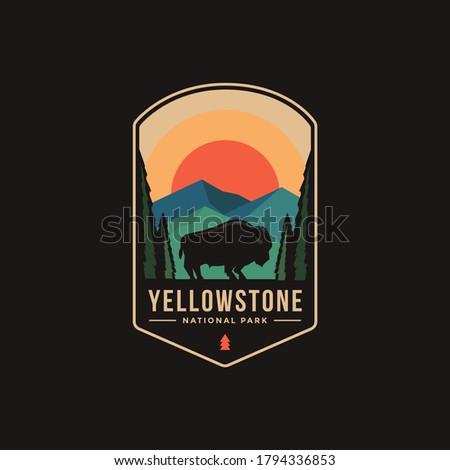 Emblem patch logo illustration of Yellowstone National Park Royalty-Free Stock Photo #1794336853