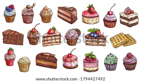 Cakes, cheesecakes and dessert sweets cupcakes sketch, vector icons. Bakery and pastry shop sweet chocolate cakes, hand drawn patisserie sweet dessert cheesecake, tiramisu, brownie and waffles #1794427492