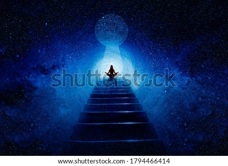 Woman in yoga pose at top of stair Royalty-Free Stock Photo #1794466414
