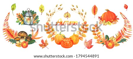 Autumn clip art set. Wreaths with pumpkins, mushrooms, autumn  flowers and leaves. Isolated element on a white background. Hand painted in watercolor.
