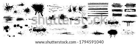 Ink splashes. Black inked splatter dirt stain splattered spray splash with drops blots isolated. Ink splashes stencil. High quality manually traced. Drops blots isolated. Vector illustration #1794591040