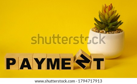 Wooden blocks with the text: PAYMENT. On a yellow background and with a cactus in a pot. New business startup concept. #1794717913