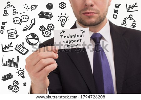 Business, technology, internet and network concept. Young businessman thinks over the steps for successful growth: Technical support #1794726208