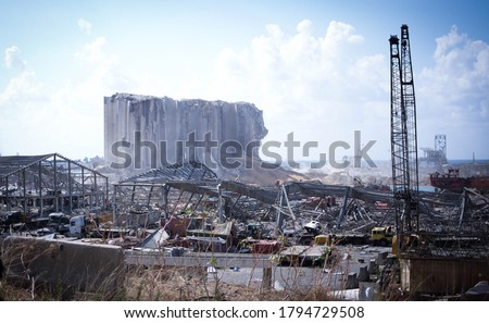 Destroyed buildings and the port of beirut, from the 4th of August explosion in Lebanon Royalty-Free Stock Photo #1794729508