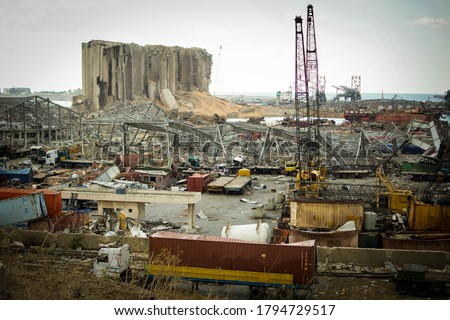 Destroyed buildings and the port of beirut, from the 4th of August explosion in Lebanon Royalty-Free Stock Photo #1794729517
