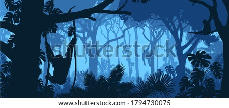 Beautiful vector landscape of a rainforest jungle with orangutan monkeys and lush foliage in blue colors. Royalty-Free Stock Photo #1794730075