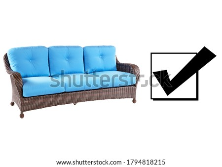 Wicker Outdoor Sofa Isolated on White Background. Side View of Dining Sofa with Blue Tufted Fabric Cushion Seat. Patio Furniture. All-Weather Rattan  Deep Loveseat. Three Seater Couch with Armrests #1794818215