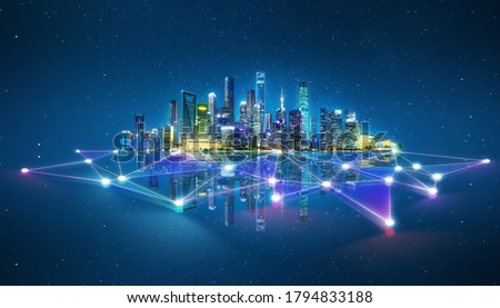 Abstract futuristic night city with dots and line connection. Concept for IOT, smart city, speed connection and intelligent network.