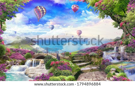 Beautiful sea view with access to the garden, old houses, flowers and waterfalls. Balloons in the sky. Digital collage, panels and panels. Wallpaper. Poster design. Modular panel. #1794896884