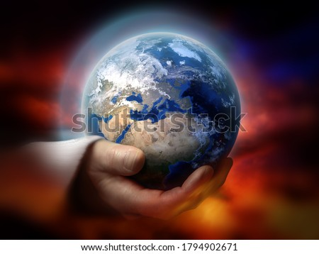 God holding the earth conceptual theme Royalty-Free Stock Photo #1794902671