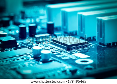 close-up of electronic circuit board with processor  #179495465