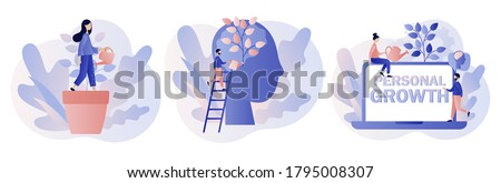 Personal growth concept. Metaphor growth personality as plant. Tiny people that self-improvement, self development. Modern flat cartoon style. Vector illustration  #1795008307