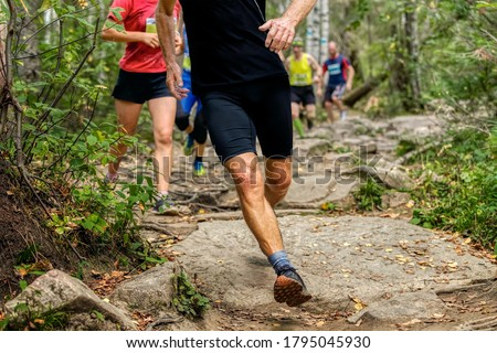 group runners athletes run on rocks forest trail marathon
