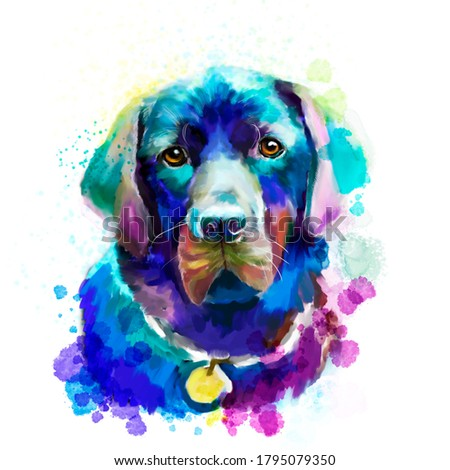 Labrador Retriever is the most lovely pet in the world. This illustration is good for cards, print for T-shirts.