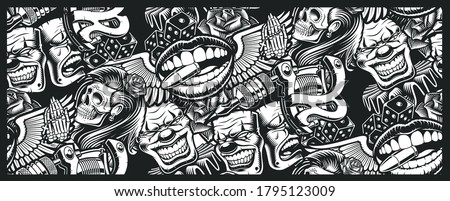 Seamless pattern on tattoo theme with a skull, mask, tattoo machine, and other elements tattoo. Ideal for printing for fabric, wall decoration, and many other uses #1795123009