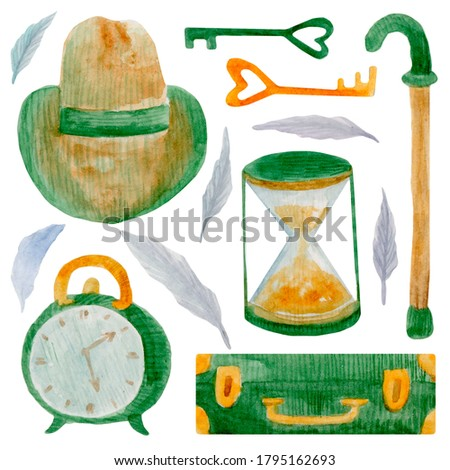 Watercolor set of elements on isolated white background with vintage suitcase, hat, walking stick, hourglass, vintage alarm clock, keys, feathers