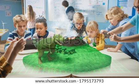 Group of School Children Use Digital Tablet Computers with Augmented Reality App, Looking at Educational 3D Animation - Dinosaur Walking on Island with Active Volcano. VFX, Special Effects Render #1795173793